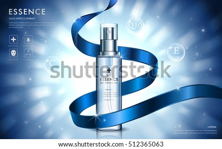 Cosmetic ads template, moisturizing spray with blue ribbon and glitter elements on the background, 3d illustration