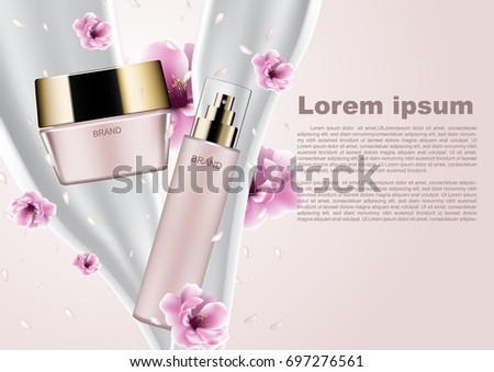 Cosmetic ads template, pink cosmetic products with pouring milk and falling petals and pink flowers
