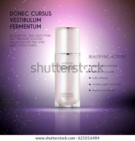 Cosmetic ads template, Realistic Cosmetic bottle. Container for cream, foams and other cosmetics with lights and glitter elements on the background, 3d illustration