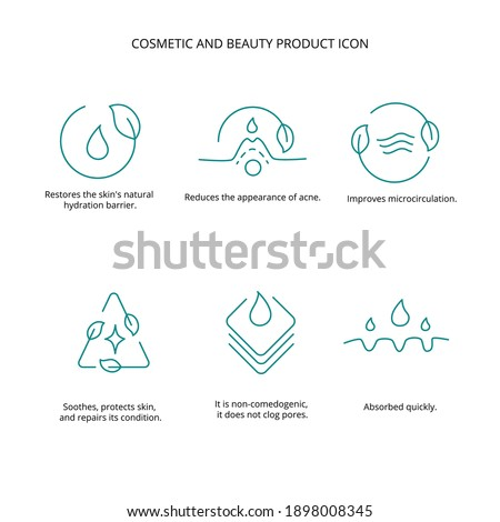 Cosmetic and beauty product icon set for web design. Vector stock illustration isolated on white background. Foto d'archivio ©