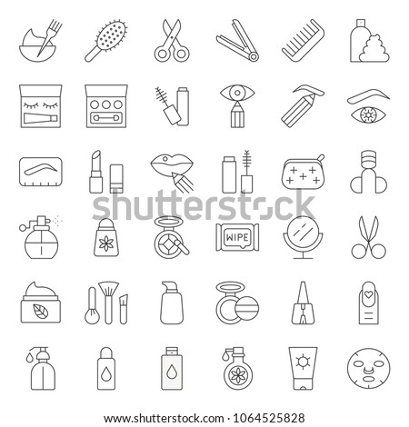 Cosmetic and personal care products thin line icon