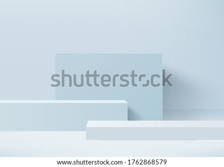 cosmetic background podium. minimal blue scene with geometrical forms. Cylinder podium in blue pastel background. Scene to show cosmetic product, Showcase. 3d vector render for product display.