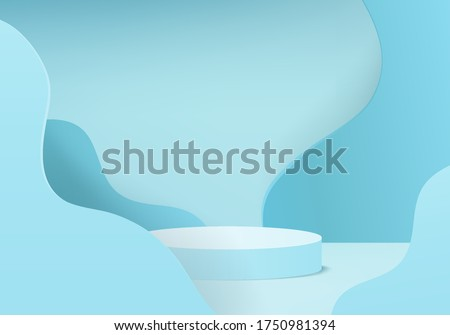 cosmetic background podium. minimal scene with geometrical forms. Cylinder podium in cream background with curve blue. stand to show cosmetic product, Showcase. 3d vector render for product display.