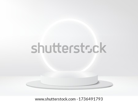 cosmetic background podium. minimal scene with geometrical forms. Cylinder podium in grey background with light on stand. Scene to show cosmetic product, Showcase. 3d vector render for product display
