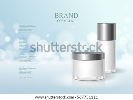 Cosmetic blue bottle package design with moisturizer cream or liquid, skin care product poster, sparkling background vector design. #567751111