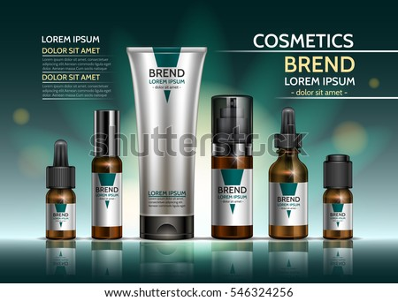Cosmetic body oil. Design a set of bottles and packaging of the cream on a green background. Vector illustration