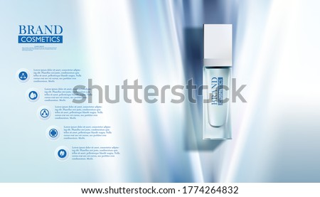 cosmetic bottle on abstract Blue background or banner for cosmetic ads. Blue cosmetic premium. Makeup products brand. 3D illustration.
