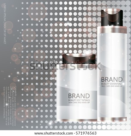 Cosmetic bottle on silver background. Beautiful essentials designed for cover, magazine, promotion, web page, website, presentation or poster. Vector illustration. #571976563