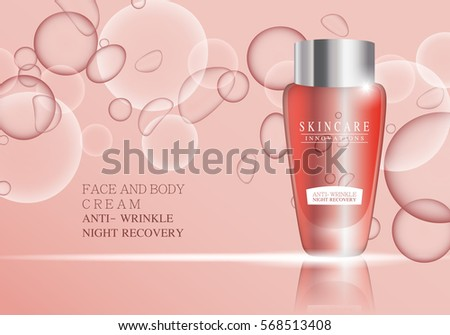 Cosmetic bottle,vector.Premium ads,translucent sprayer bottle.Isolated on pink background with liquid drip.Closeup color container and toner.Realistic 3D illustration for web site and poster
