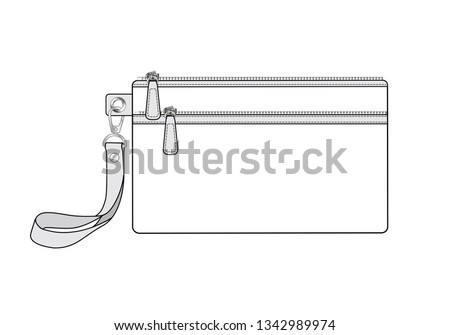 cosmetic case bag with two zippered pockets. zip bag with detachable wrist strap/ key replacement handle, vector illustration sketch template Foto stock ©
