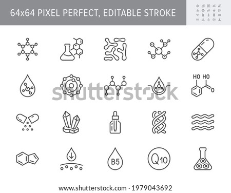 Cosmetic compounds line icons. Vector illustration include icon - vitamin, antioxidant, coenzyme q10, collagen outline pictogram for beauty chemical components. 64x64 Pixel Perfect, Editable Stroke.