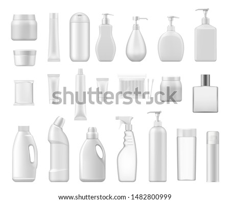 Cosmetic containers and chemical plastic bottles blank 3d packages. Vector cream jar, cotton swabs and toilet or bath cleanser, soap dispenser or perfume atomizer, lotion tube and shampoo bottle