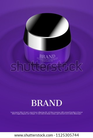 Cosmetic cream on purple concentric water wave