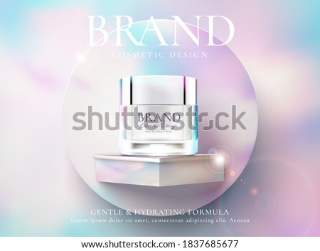 Cosmetic cream product ads against colorful background in 3d illustration. Beauty product advertisement banner.