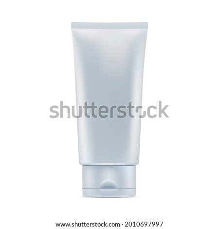 Cosmetic cream tube. Glossy cosmetic product package. Plastic toothpaste tube. Corean hydration masque bottle design. Facial makeup gel template illustration Photo stock ©