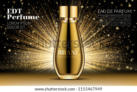 Cosmetic Design Product. Realistic Gold Woman Parfume Bottle Mockup on Dazzling Background. Golden bokeh. Contained Glass Mock up. Excellent Advertising. 3D Vector Illustration