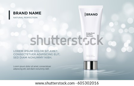 stock-vector-cosmetic-design-template-vecror-tube-packaging-with-glossy-silver-cup-on-silver-glitter-background
