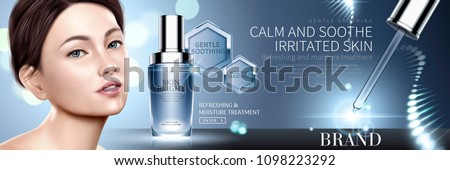 Cosmetic droplet bottle with helical structure light on blue background, beautiful model in 3d illustration