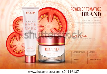 Cosmetic glass jar and plastic tube with red lid, cream based on tomatoes for ads or magazine.
