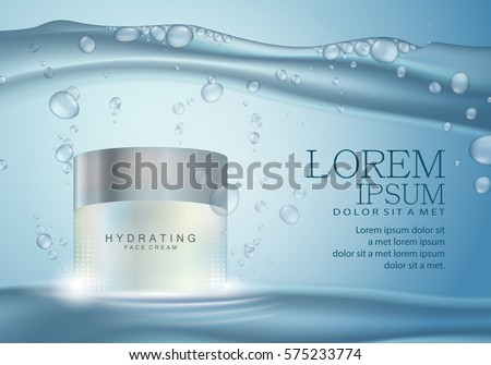 Cosmetic hand cream box,vector illustration.Premium ads,translucent mask and skincream bottle.Isolated on bright and shiny blue background under water with bubbles and drops.Color pack for web site