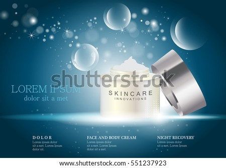 Cosmetic hand cream box,vector.Premium ads,translucent mask and skincream bottle.Isolated on bright and shiny blue background with bubbles.Color container with open lid.3D illustration for web site