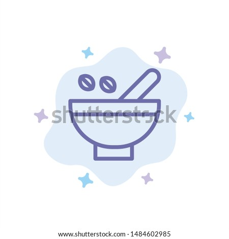 Cosmetic Herbs, Herbs, Medicinal Herbs, Natural, Organic, Plants Blue Icon on Abstract Cloud Background. Vector Icon Template background