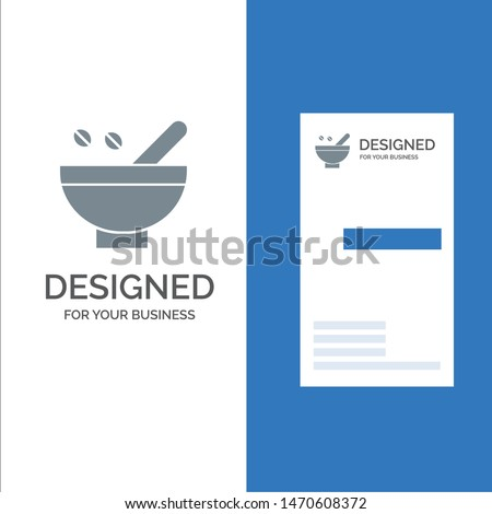 Cosmetic Herbs, Herbs, Medicinal Herbs, Natural, Organic, Plants Grey Logo Design and Business Card Template. Vector Icon Template background