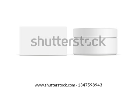 Cosmetic jar with packaging box mockup isolated on white background - front view. Vector illustration Zdjęcia stock ©