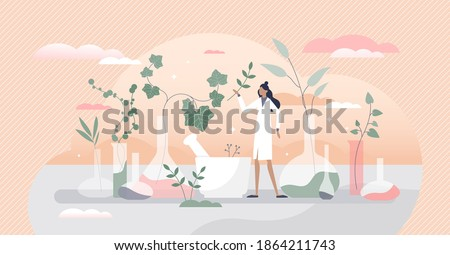 Cosmetic laboratory with herbal skincare product creation tiny person concept. Chemist natural flora research for makeup industry, essential oils and hygiene creams ingredients vector illustration.
