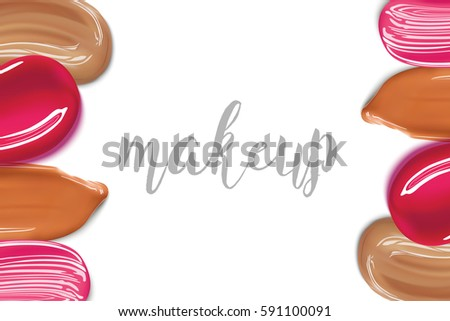 Cosmetic liquid foundation and lipstick smear strokes isolated on white background, Make up template