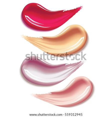 Cosmetic liquid foundation and lipstick smear strokes isolated on white background, tone cream smudged, concealer paint. Vector Illustration of Color Shades Palette For corrector Make Up.