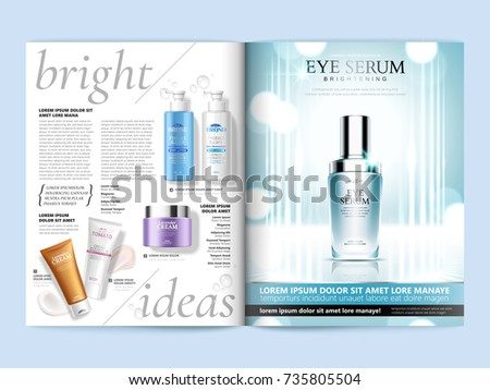 Cosmetic magazine brochure, eye serum on glittering background with top view of skincare products in 3d illustration