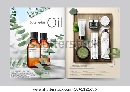 Cosmetic magazine template, Eucalyptus oil and skincare products in 3d illustration