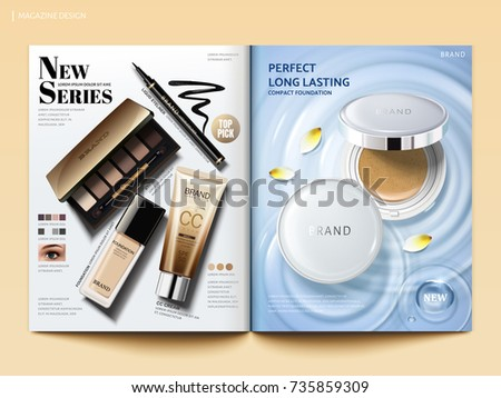 Cosmetic magazine template, hot sale products like cushion powder and eye shadow, cc cream and eyeliner in 3d illustration, top view