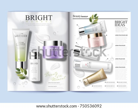 Cosmetic magazine template, refreshing skin care products with textures isolated on white background in 3d illustration
