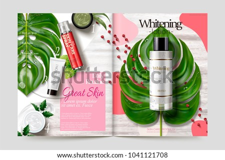 Cosmetic magazine template, skincare products on tropical leaves and wooden table, 3d illustration Сток-фото ©
