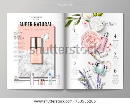 Cosmetic magazine template, top view of container and cream texture isolated on marble and geometric background, products listed on the right side, 3d illustration