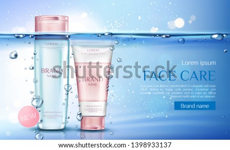 Cosmetic micellar water and scrub bottles mockup, beauty cosmetics products line for face care on transparent aqua background with air bubbles. Tubes packages. Realistic 3d vector illustration, banner