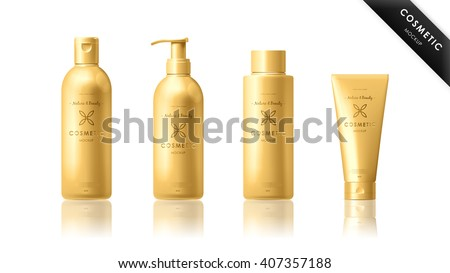 Wall mural Cosmetic mockup. Realistic golden spa skincare product bottle and tube packaging template set vector illustration. Elegant female professional cosmetic series presentation. Brand advertisement