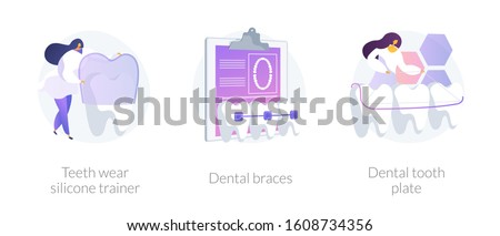 Cosmetic odontology and orthodontic procedures. Teeth straightening. Teeth wear silicone trainer, dental braces, dental tooth plate metaphors. Vector isolated concept metaphor illustrations. Foto stock ©