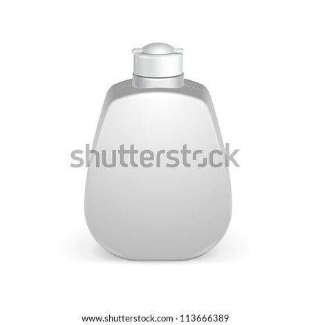 Cosmetic Or Hygiene Grayscale White Plastic Bottle Of Gel, Liquid Soap, Lotion, Cream, Shampoo. Ready For Your Design. Illustration Isolated On White Background. Vector EPS10