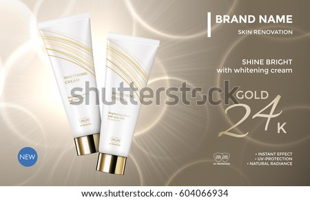 Cosmetic package advertising vector template for skin care moisturizer whitening face cream tube on premium radiant gold background for product design