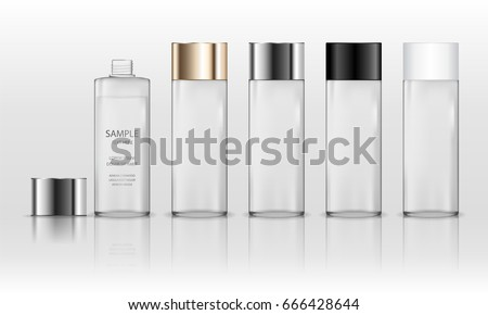 Cosmetic plastic bottle (transparent). Liquid container for gel, lotion, cream, shampoo, bath foam. Beauty product package. Vector illustration.