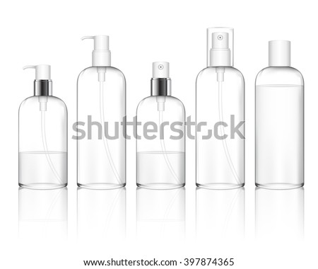 Cosmetic plastic bottle with different caps (spray, dispenser pump). Liquid container for gel, lotion, cream, shampoo, bath foam. Beauty product package (transparent). Vector illustration.