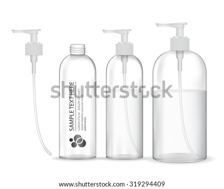 Cosmetic plastic bottle with white dispenser pump (transparent). Liquid container for gel, lotion, cream, shampoo, bath foam. Beauty product package, vector illustration.