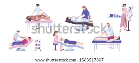 Cosmetic procedures flat set with human characters of medical specialists equipment and clients on blank background vector illustration