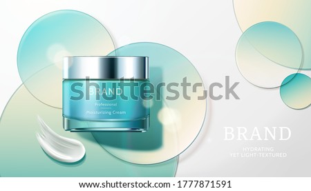 Cosmetic product ad with transparent circle disks, concept of light textured and moisturizing face cream, 3d illustration Foto stock ©