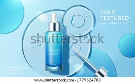 Cosmetic product ad with transparent circle disks, concept of light textured and moisturizing face serum, 3d illustration