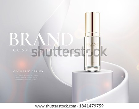 Cosmetic product on 3D pedestal podium with white paper swirl flow on white studio background