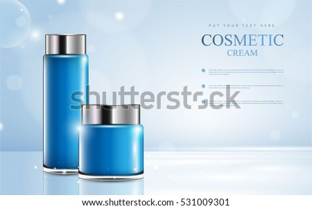 cosmetic product poster, blue bottle package design with moisturizer cream or liquid, sparkling background with glitter polka, vector design.
